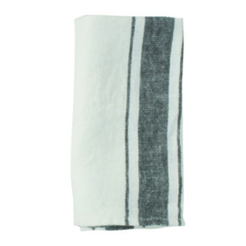 French Linen Napkin in White/Granite