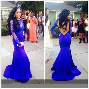 Mermaid Royal Blue Prom Dresses