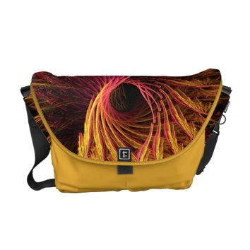 Cool Purple Yellow Abstract Neon Glowing Fractal Courier Bag