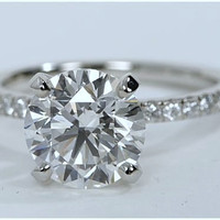 2.76ct F-VS1 Round Diamond Engagement Ring GIA certified Platinum GIA CERTIFIED