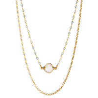 Gold Selda Neckalce, Aquamarine & MOP, Pendant Necklaces