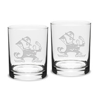 Notre Dame Fighting Irish Set of 2 Leprechaun Traditional Double Old Fashioned Glasses
