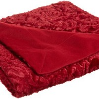 Northpoint Champlain Decorative Faux Fur Throw, Red