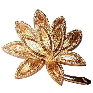 Gold Flower Leaf Brooch Signed Avon Brushed & Smooth Metal 2 in Vintage