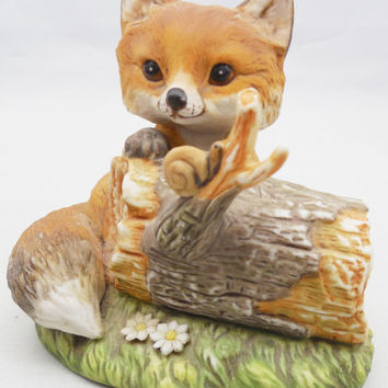 Cute Porcelain Fox by Homco, Masterpiece Porcelain by Homco 1986, Ceramic Fox Figurine