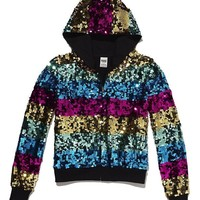 Victoria's Secret PINK FASHION SHOW 2012 LIMITED EDITION Rainbow Bling Hoodie and Pant Set Size Large