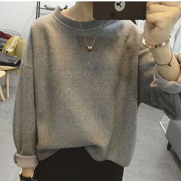 Fashion Loose Round Neck Long Sleeve  Sweater