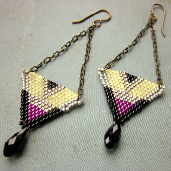 Brick Stitch Earrings with Glass Drops - Art Deco Earrings