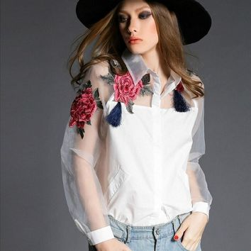 New spring fashion elegant flower embroidery organza shirt camisetas casual women blouses tops