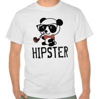 HIPSTER PANDA with PIPE Funny T-shirts
