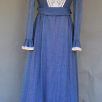 Vintage 1970's Victorian Blue Chambray Floor length Dress, USA Size S