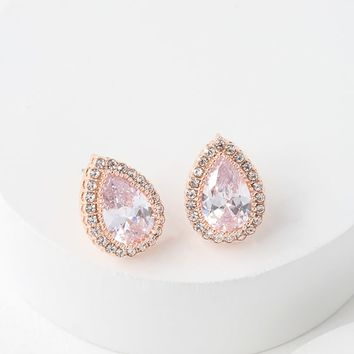 Heart of the Matter Rose Gold Rhinestone Earrings