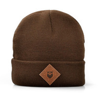 Diamond Leather Patch Roll Up Beanie