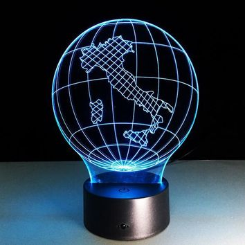 Globe Map of Italy 3D LED Night Light Lamp
