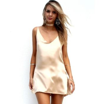 Gold Satin Slip Dress With Choker