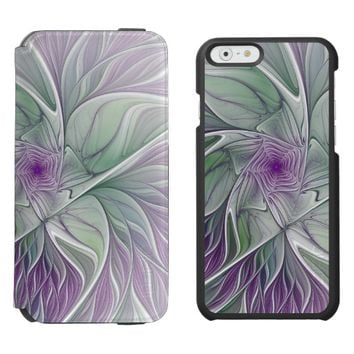 Flower Dream, Abstract Purple Green Fractal Art iPhone 6/6s Wallet Case