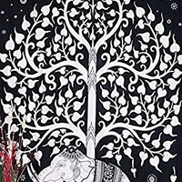 Kayso Elephant Tree Tapestry, White/Black