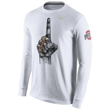 Men's Ohio State Buckeyes Nike White 2014 College Football Playoff National Champions Celebration Ring Long Sleeve T-Shirt