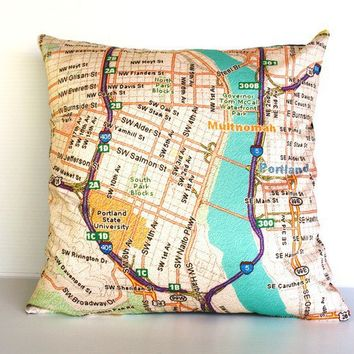 PORTLAND Oregon map cushion Organic cotton  16 by mybeardedpigeon