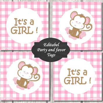 Editable-baby monkey Gift Tags Printables - Personalized - pink gingham Gift Tag