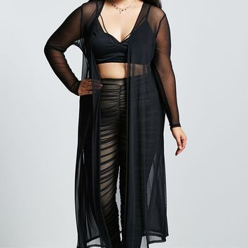 Plus Size Sheer Mesh Duster