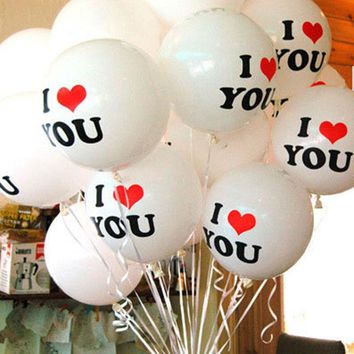 Durable 10Pcs/Lot 12 inch I LOVE YOU Pearl Latex Balloons Globos ballons For Christmas Wedding Decorations