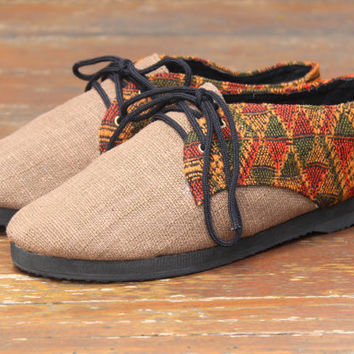 Cocoa Brown Vegan Oxford Men's Shoes In Natural Hemp & Laos Tribal Embroidery