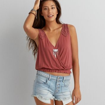 AEO WRAP FRONT CROP TANK