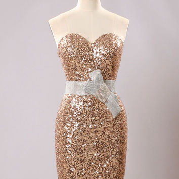 Sweetheart Sparkly Golden Sequins Cocktail Dress Shining Women Girls Party Gown Mini Cocktail gown with Beading Sash