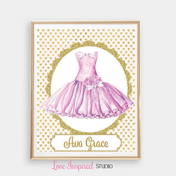 Custom Name Print Personalized Name Tutu Dress Gift Idea Printable Wall Art Girls Room Nursery Print Great Gift Idea Christmas Gift