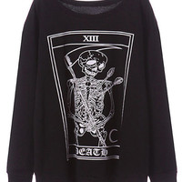 ROMWE | ROMWE Skeleton Print Long Sleeves Black Sweatshirt, The Latest Street Fashion