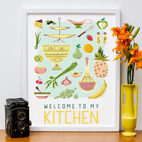"12"" x 16"" ""Welcome to My Kitchen"" Mid Century Modern Poster"