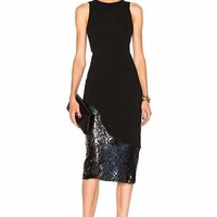 Black Sequins And Bandage Midi Dress