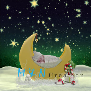 ON SALE Digital Backdrops And Props. Newborn Moon with Stars Christmas Background. Prop Photography Digital Background. Instant Download