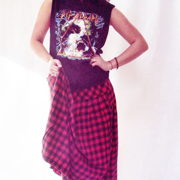 90s Grunge Plaid MAXI Skirt / FLANNEL / Black and Red / Buffalo Print / Checkered / High Waist
