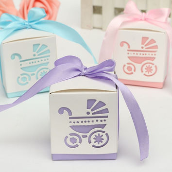 New 10Pcs Party Gift  Laser Cut Baby Shower Candy Ribbon Boxes Carriage Shower