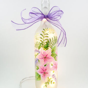 Lighted Wine Bottle Pink Azalea Purple Sage Lighted Wine Bottle Hand Painted 750 ml
