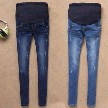 Maternity Jeans For Pregnant Women Pregnancy Winter Warm Jeans Pants Maternity Clothes