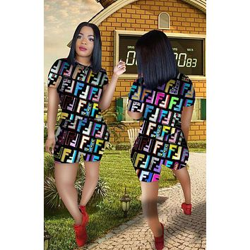 FENDI Fashionable Woman Leisure Print Short Sleeve Top Shorts Set Two Piece