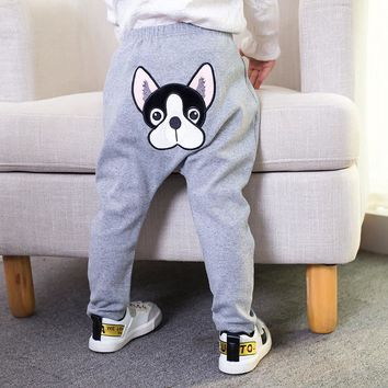 2018 spring boys and Girls Embroidered cartoon puppy big PP pants children's clothing