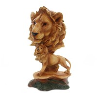 Animal LION SCENE WOODLIKE CARVING Polyresin Family Mmh462