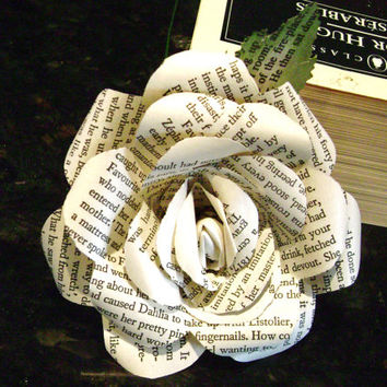 Victor Hugo's Les Miserables recycled book page paper roses flowers for wedding bouquet decorations bridesmaid bouquets toss farmhouse style