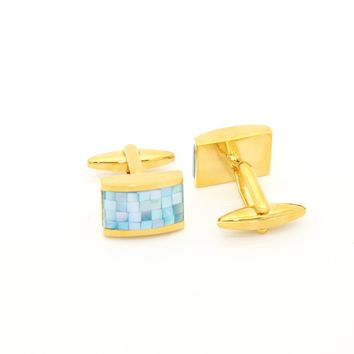 Goldtone Blue Shell Cuff Links With Jewelry Box