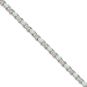 Sterling Silver 7 Inch Simulated Opal XO Bracelet