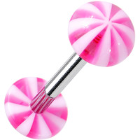 """14 Gauge Pink White Acrylic Peppermint Love Barbell Tongue Ring 5/8"""""""