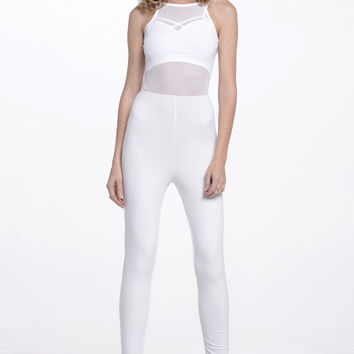 (alq) Sheer mesh top white jumpsuit