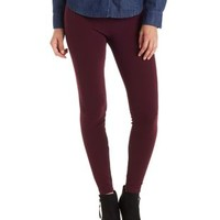Oxblood Textured High-Waisted Leggings by Charlotte Russe