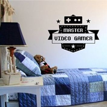Master Video Gamer Controllers Decal Sticker Wall Boy Girl Teen Child Sport Fight