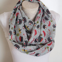 Sushi Scarf, Sushi Set Infinity Scarf, Women Accessories, Foodie Gifts, Gift for Her