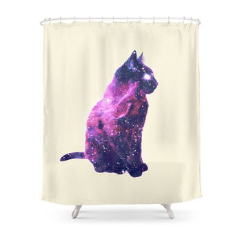 Society6 Whimsical Purple Nebula Cat Pink Galaxy Stars Shower Curtains